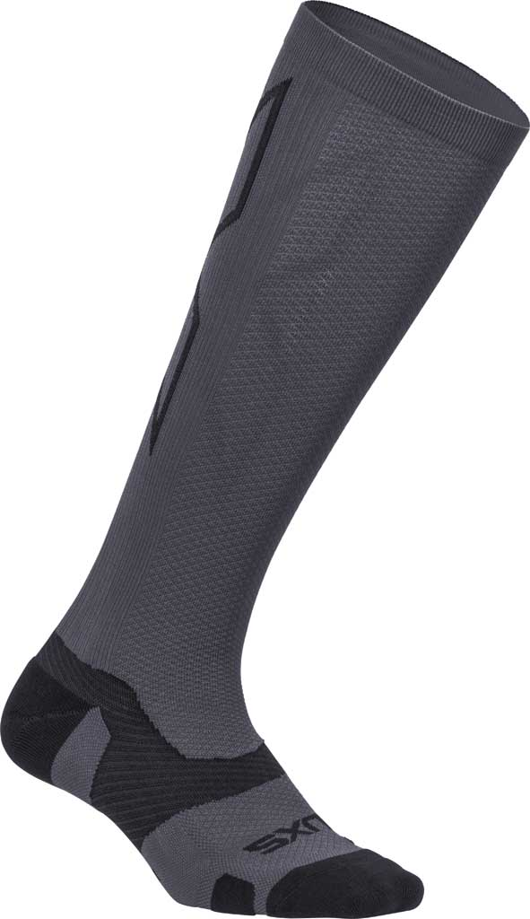 2XU VECTR Light Cushion Full Length Sock, Titanium/Black, large, image 1