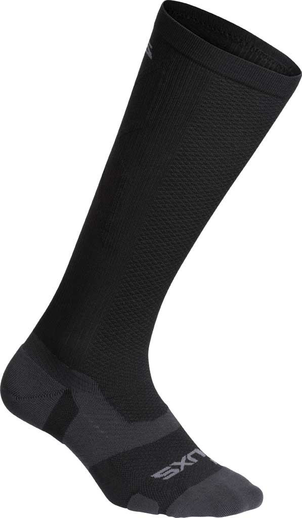 2XU VECTR Light Cushion Full Length Sock, Black/Titanium, large, image 1
