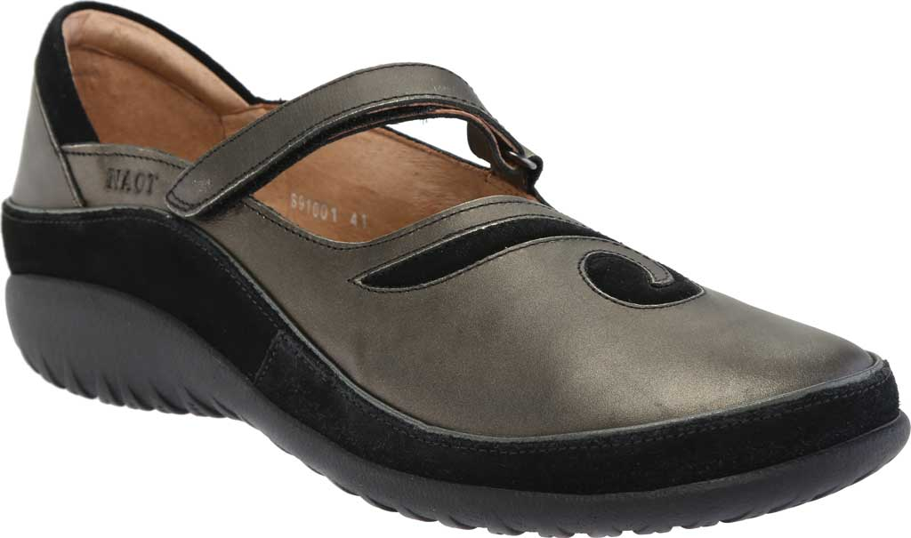 Women's Naot Matai Mary Jane, Metal Leather/Black Suede, large, image 1