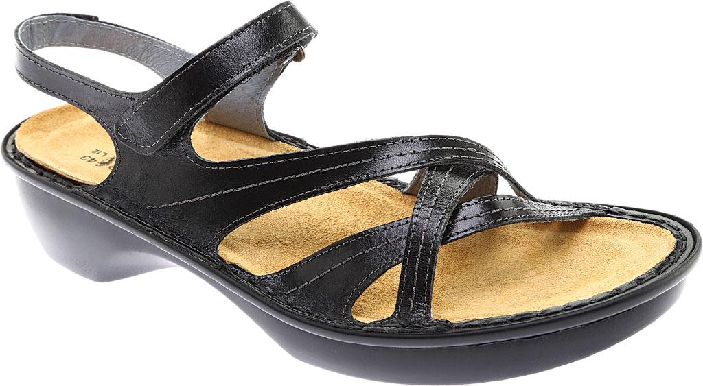 Women's Naot Paris Sandal, Black Madras Leather, large, image 1