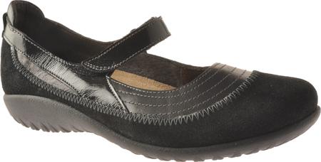 Women's Naot Kirei Mary Jane, Black Madras/Black Suede/Black Patent Leather, large, image 1
