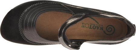 Women's Naot Kirei Mary Jane, Black Madras/Black Suede/Black Patent Leather, large, image 6
