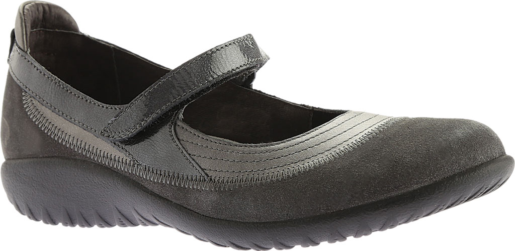 Women's Naot Kirei Mary Jane, Sterling Leather/Grey Suede/Grey Patent Leather, large, image 1
