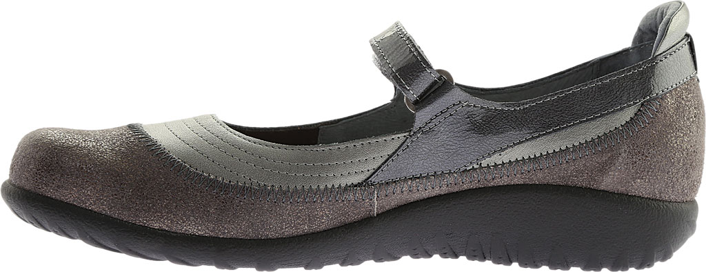 Women's Naot Kirei Mary Jane, Sterling/Gray Shimmer Leather/Gray Patent, large, image 3