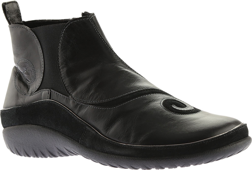 Women's Naot Chi, Black Madras Leather/Black Suede, large, image 1
