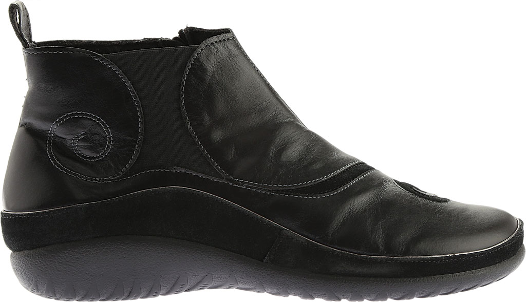Women's Naot Chi, Black Madras Leather/Black Suede, large, image 2