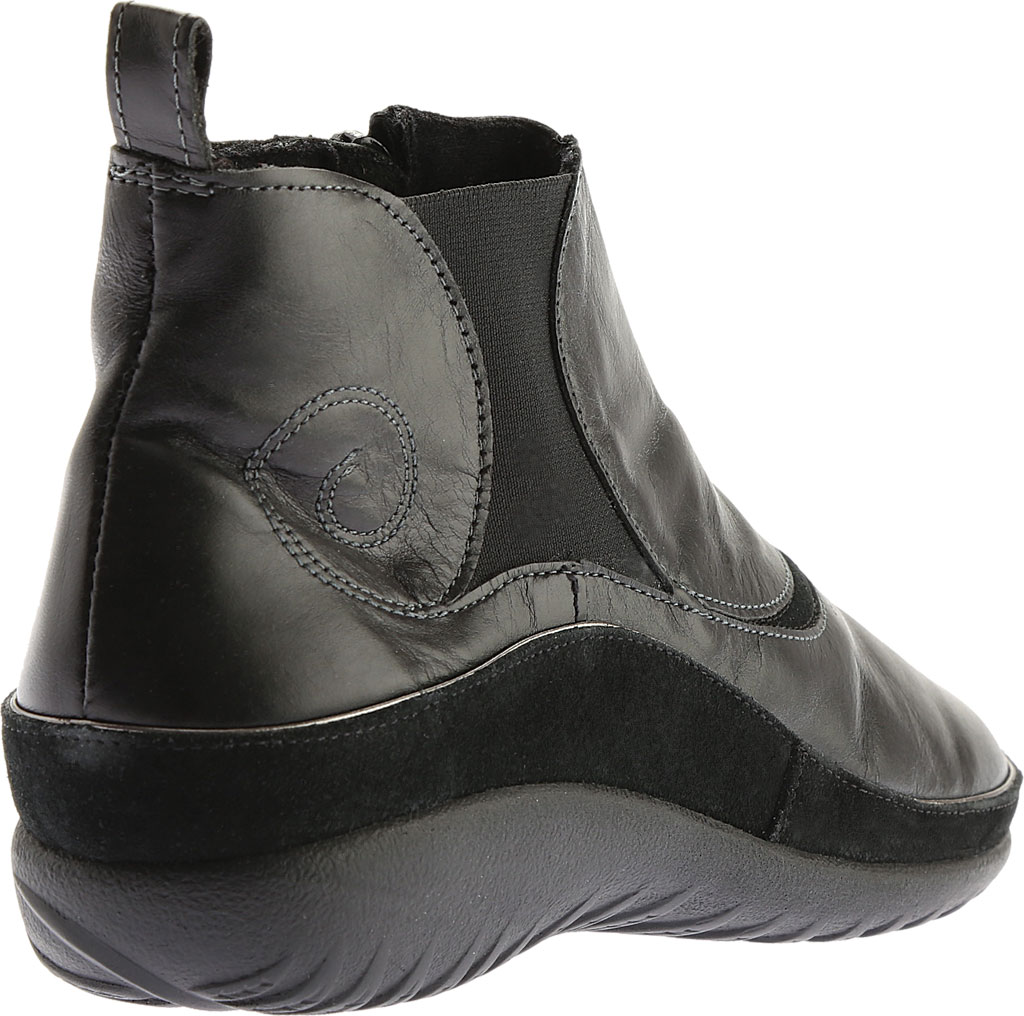 Women's Naot Chi, Black Madras Leather/Black Suede, large, image 4