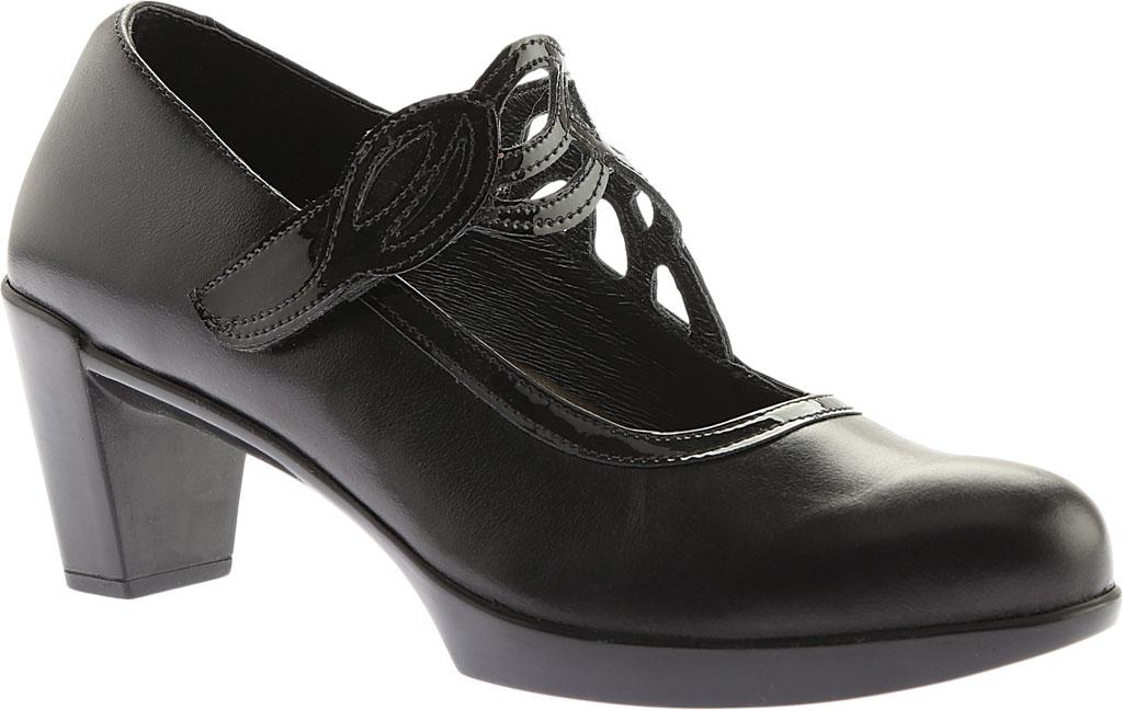 Women's Naot Luma, Black Madras Leather/Crinkle Patent Leather, large, image 1