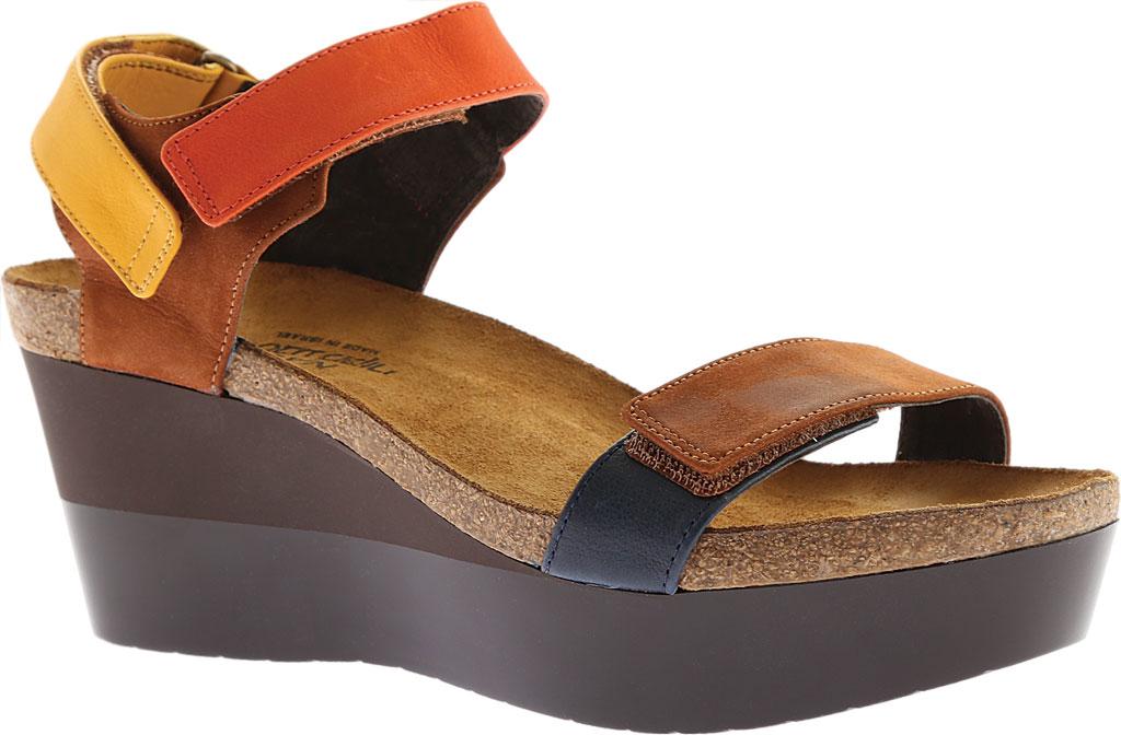 Women's Naot Miracle, Hawaiian Brown Nubuck/Orange/Sunshine Leather, large, image 1