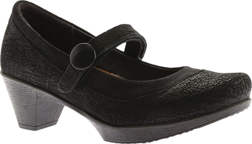 Women's Naot Latest, Black Crackle Leather/Shiny Black Leather, large, image 1