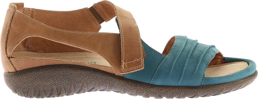 Women's Naot Papaki Sandal, Teal Nubuck/Latte Brown Leather, large, image 2