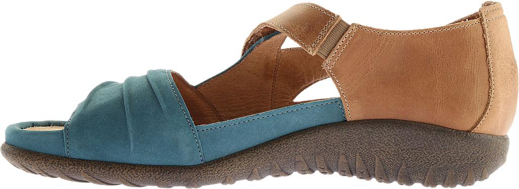 Women's Naot Papaki Sandal, Teal Nubuck/Latte Brown Leather, large, image 3