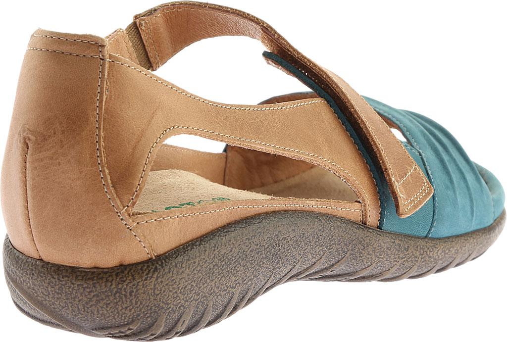Women's Naot Papaki Sandal, Teal Nubuck/Latte Brown Leather, large, image 4