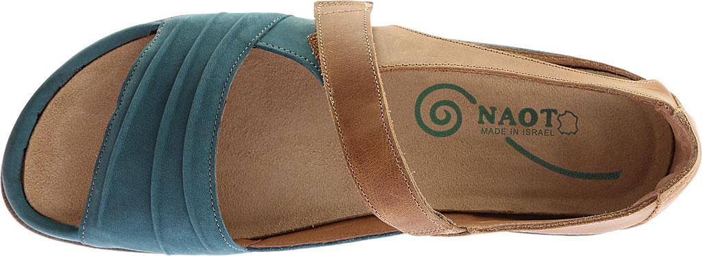 Women's Naot Papaki Sandal, Teal Nubuck/Latte Brown Leather, large, image 5