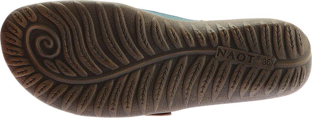 Women's Naot Papaki Sandal, Teal Nubuck/Latte Brown Leather, large, image 6