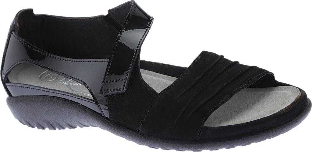 Women's Naot Papaki Sandal, Black Patent Leather/Velvet Nubuck, large, image 1