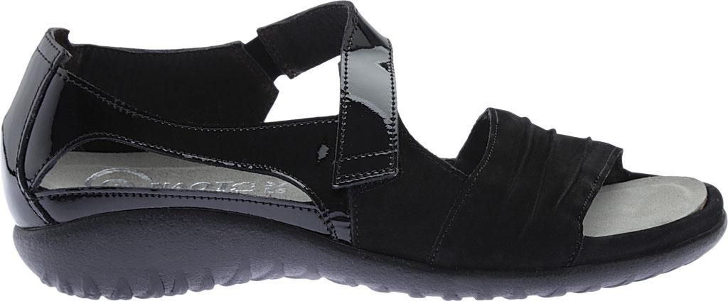 Women's Naot Papaki Sandal, Black Patent Leather/Velvet Nubuck, large, image 2