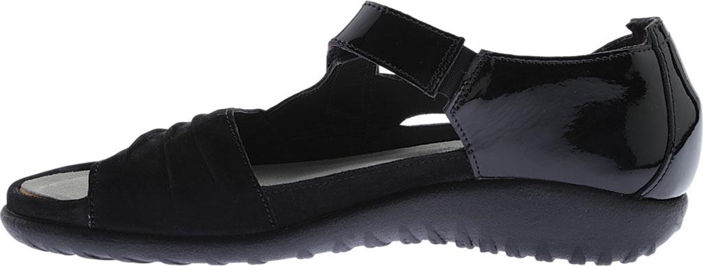 Women's Naot Papaki Sandal, Black Patent Leather/Velvet Nubuck, large, image 3