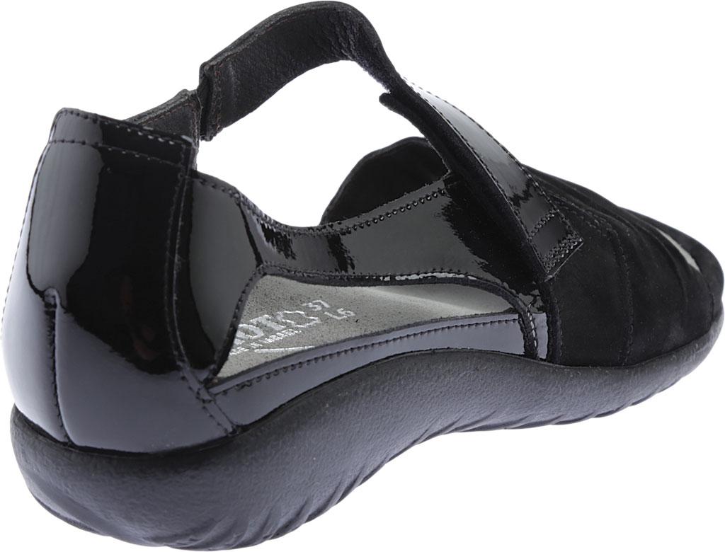 Women's Naot Papaki Sandal, Black Patent Leather/Velvet Nubuck, large, image 4