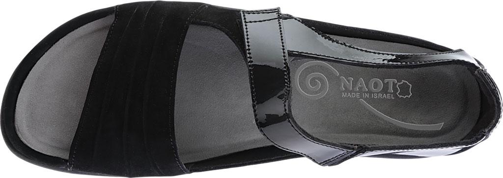 Women's Naot Papaki Sandal, Black Patent Leather/Velvet Nubuck, large, image 5
