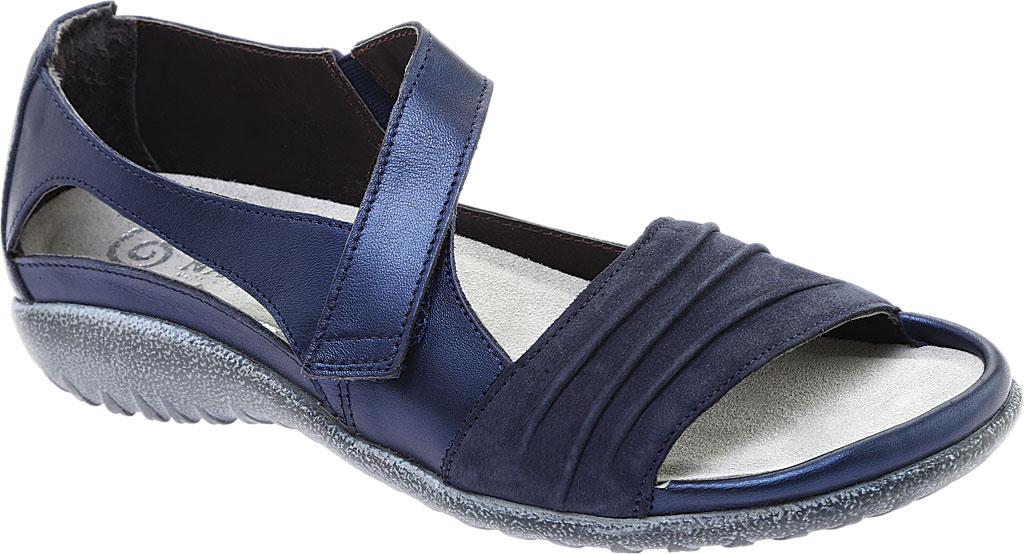Women's Naot Papaki Sandal, Navy Velvet/Nubuck Leather/Polar Leather, large, image 1