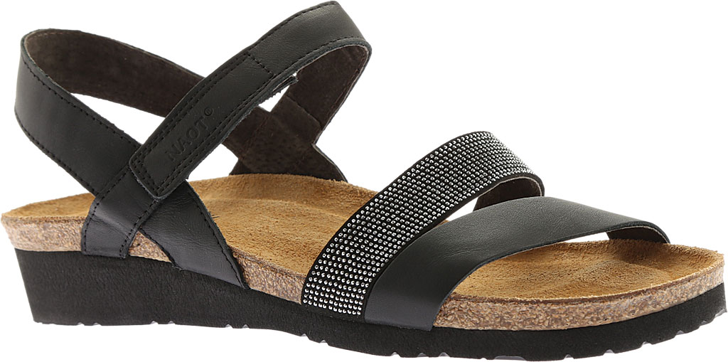 Women's Naot Krista Strappy Wedge Sandal, Black Matte Leather, large, image 1