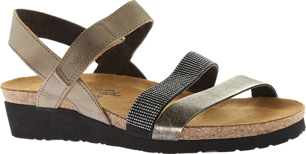 Women's Naot Krista Strappy Wedge Sandal, Pewter Leather/Metal Leather, large, image 1
