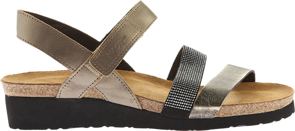 Women's Naot Krista Strappy Wedge Sandal, Pewter Leather/Metal Leather, large, image 2