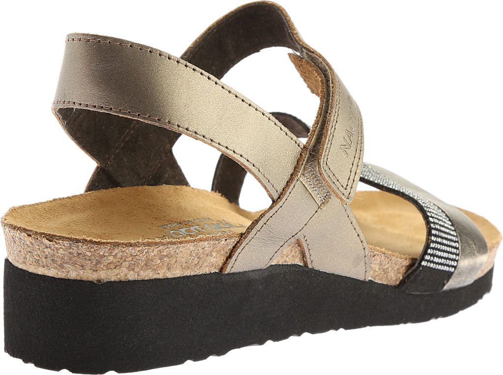 Women's Naot Krista Strappy Wedge Sandal, Pewter Leather/Metal Leather, large, image 4