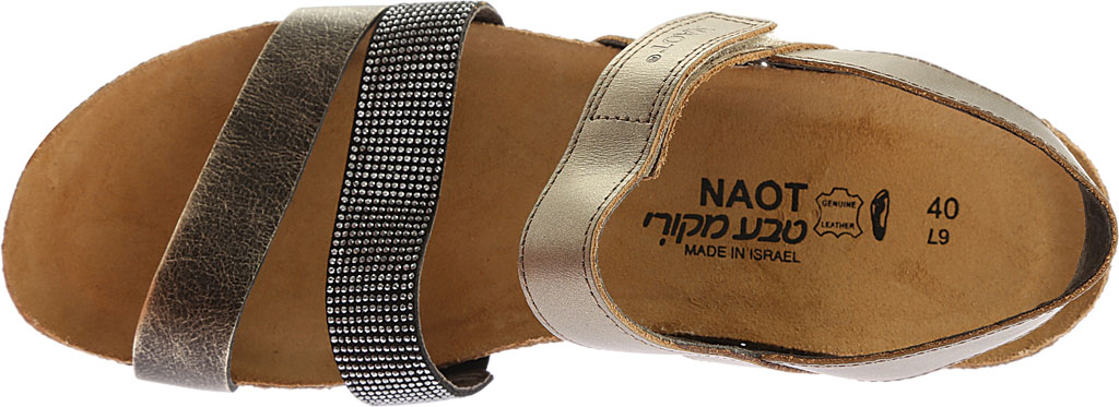 Women's Naot Krista Strappy Wedge Sandal, Pewter Leather/Metal Leather, large, image 5