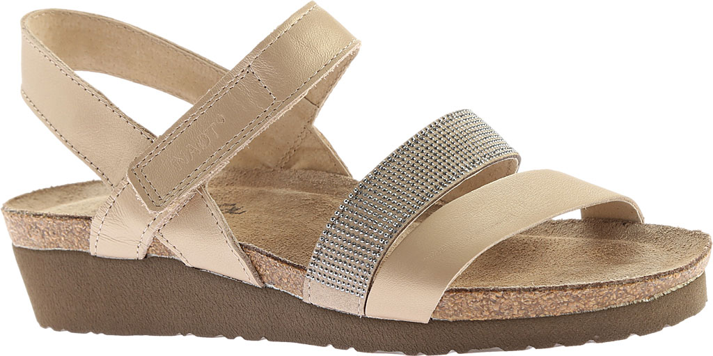 Women's Naot Krista Strappy Wedge Sandal, Satin Gold Leather/Beige with Silver Rivets, large, image 1