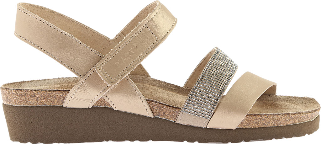 Women's Naot Krista Strappy Wedge Sandal, Satin Gold Leather/Beige with Silver Rivets, large, image 2