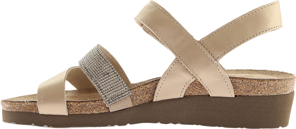 Women's Naot Krista Strappy Wedge Sandal, Satin Gold Leather/Beige with Silver Rivets, large, image 3