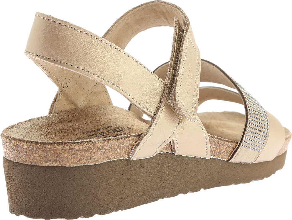Women's Naot Krista Strappy Wedge Sandal, Satin Gold Leather/Beige with Silver Rivets, large, image 4