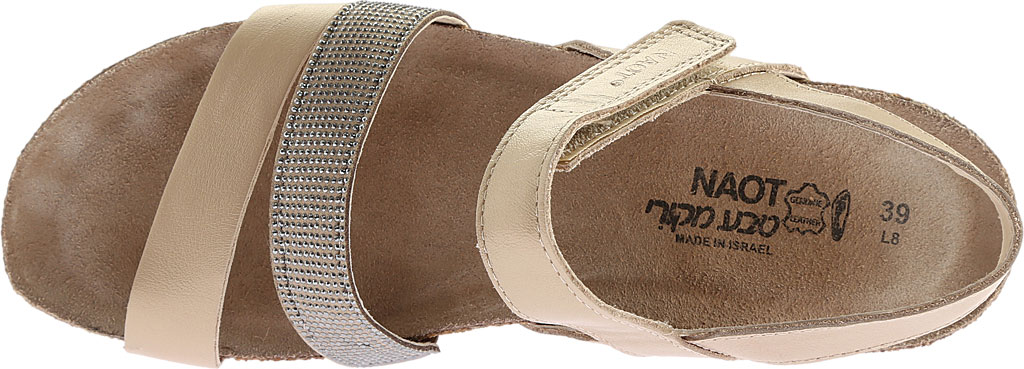 Women's Naot Krista Strappy Wedge Sandal, Satin Gold Leather/Beige with Silver Rivets, large, image 5