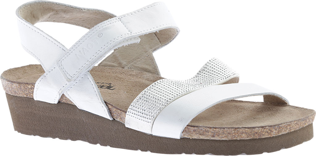 Women's Naot Krista Strappy Wedge Sandal, White Leather/White/Silver Rivets, large, image 1
