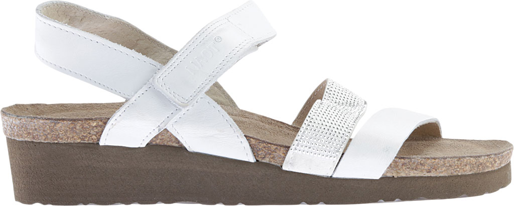 Women's Naot Krista Strappy Wedge Sandal, White Leather/White/Silver Rivets, large, image 2