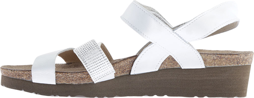 Women's Naot Krista Strappy Wedge Sandal, White Leather/White/Silver Rivets, large, image 3