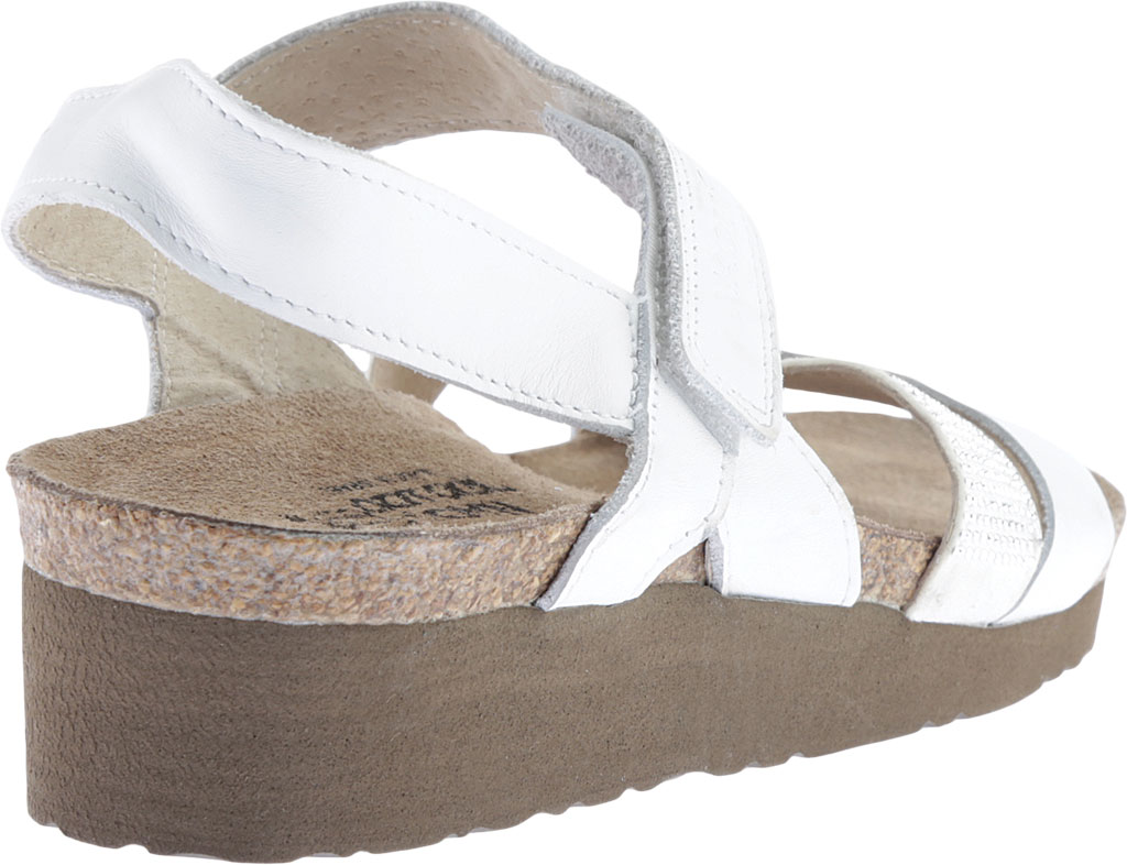 Women's Naot Krista Strappy Wedge Sandal, White Leather/White/Silver Rivets, large, image 4