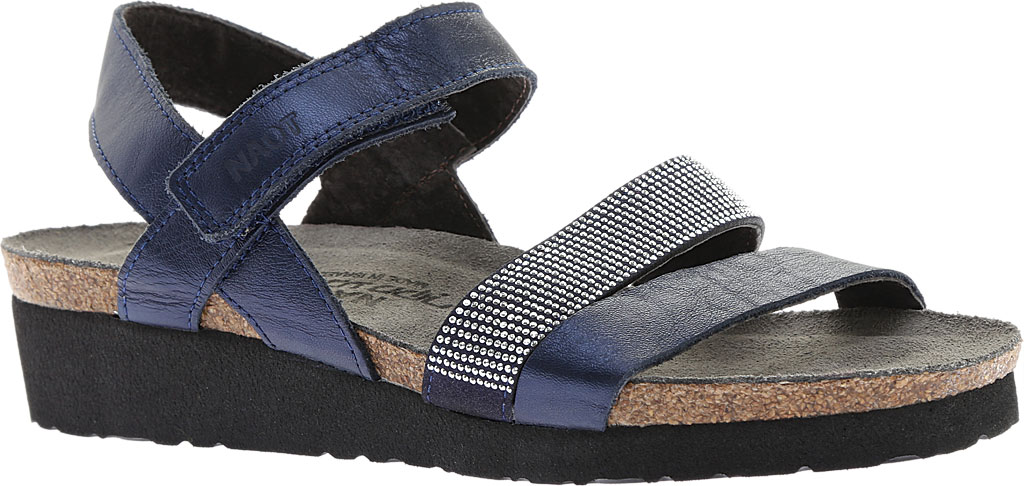 Women's Naot Krista Strappy Wedge Sandal, Polar Sea Leather/Dark Blue with Nickel Rivets, large, image 1