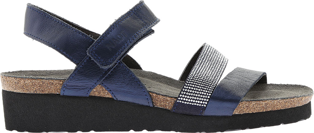 Women's Naot Krista Strappy Wedge Sandal, Polar Sea Leather/Dark Blue with Nickel Rivets, large, image 2