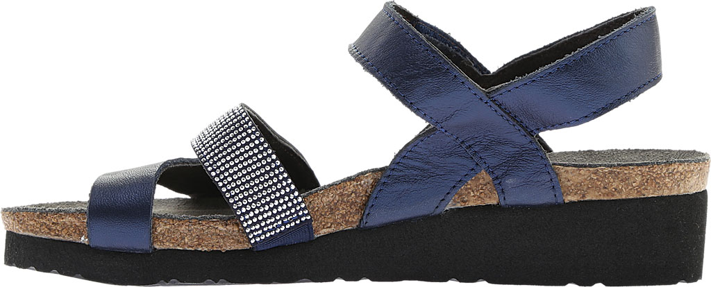 Women's Naot Krista Strappy Wedge Sandal, Polar Sea Leather/Dark Blue with Nickel Rivets, large, image 3