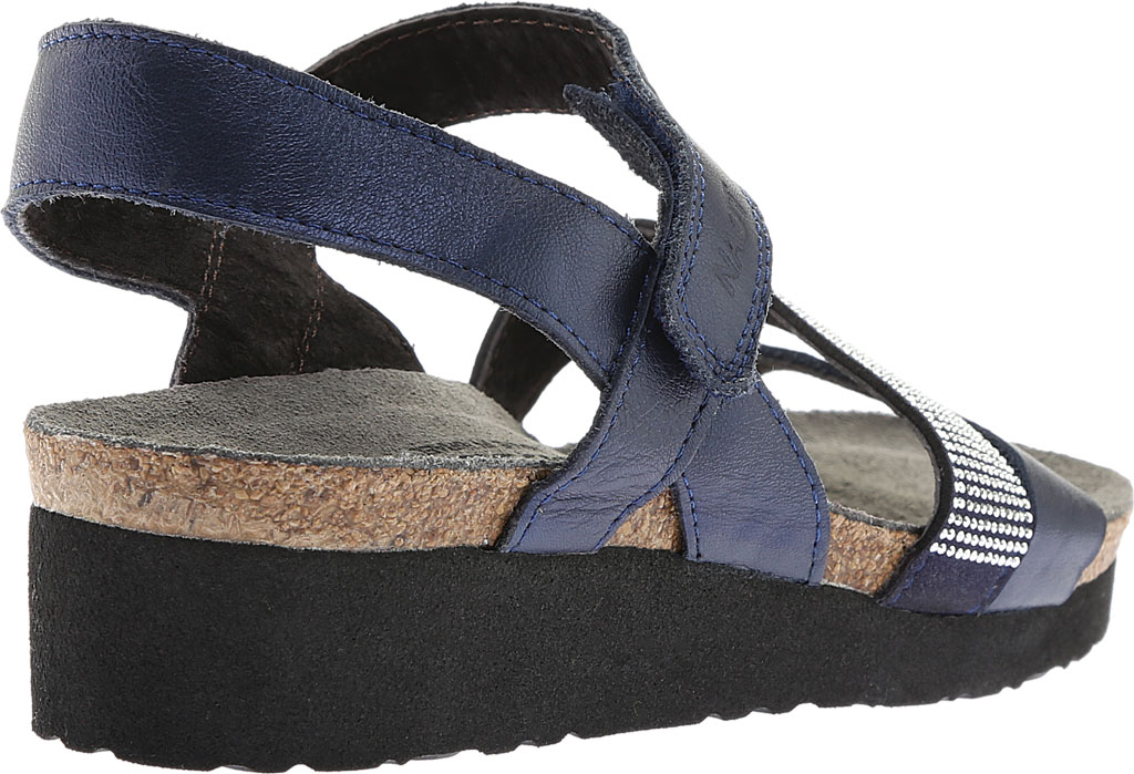 Women's Naot Krista Strappy Wedge Sandal, Polar Sea Leather/Dark Blue with Nickel Rivets, large, image 4