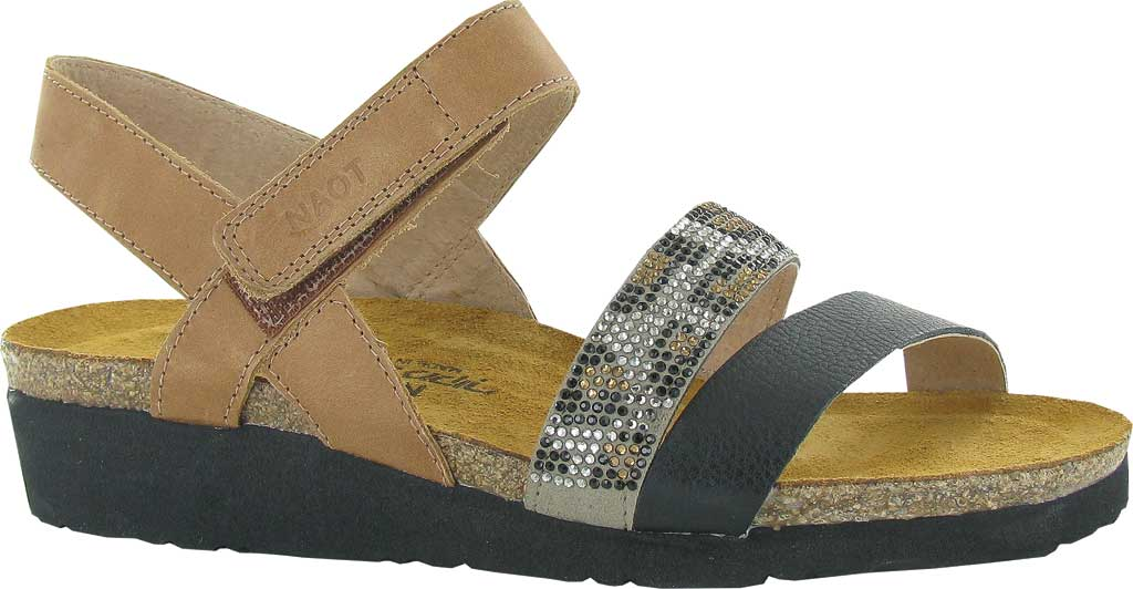 Women's Naot Krista Strappy Wedge Sandal, Latte Brown/Soft Black/Cheetah Leather/Rivets, large, image 1