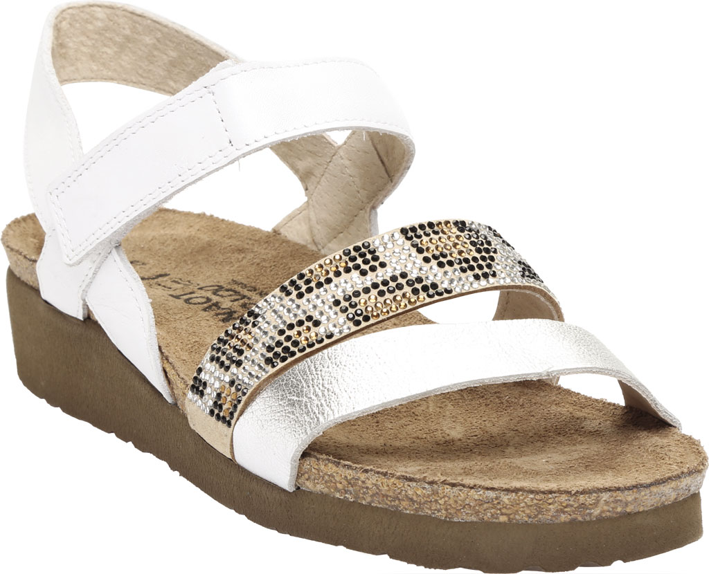 Women's Naot Krista Strappy Wedge Sandal, White Pearl/Silver/Cheetah Leather/Rivets, large, image 1