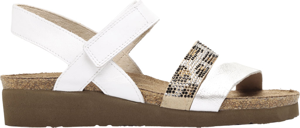 Women's Naot Krista Strappy Wedge Sandal, White Pearl/Silver/Cheetah Leather/Rivets, large, image 2