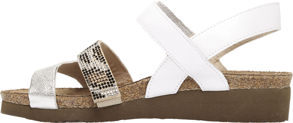 Women's Naot Krista Strappy Wedge Sandal, White Pearl/Silver/Cheetah Leather/Rivets, large, image 3