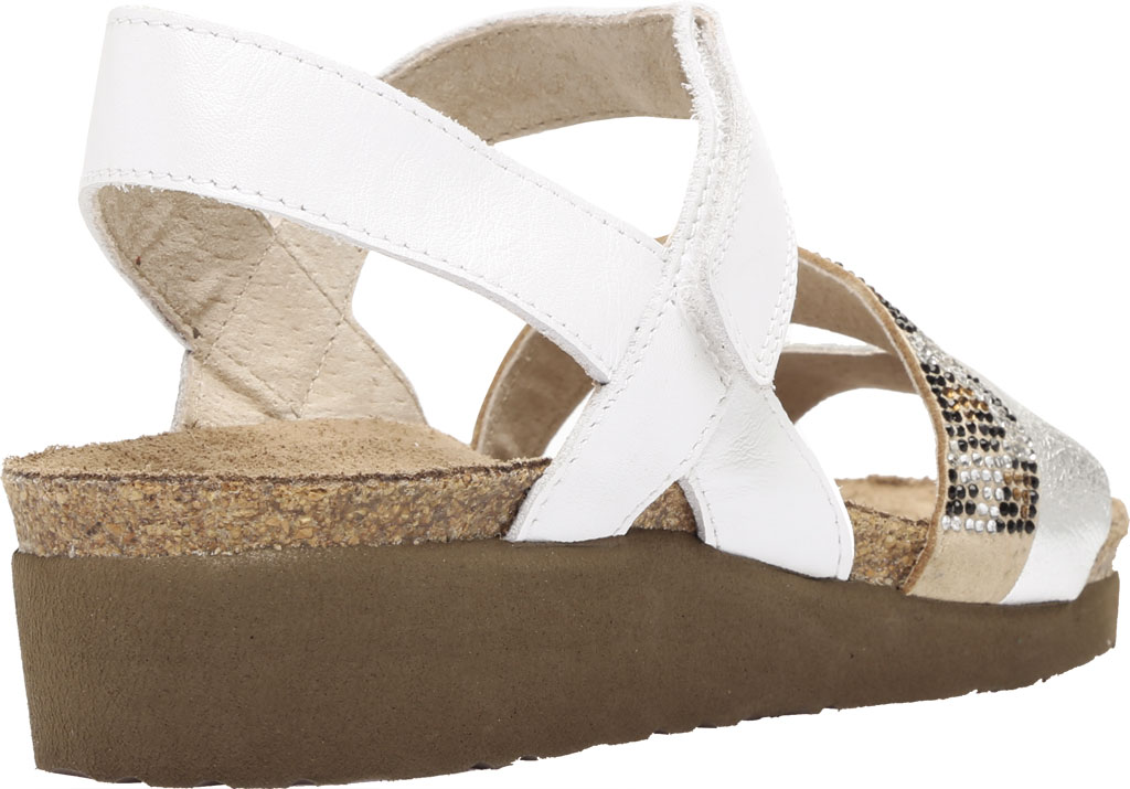 Women's Naot Krista Strappy Wedge Sandal, White Pearl/Silver/Cheetah Leather/Rivets, large, image 4