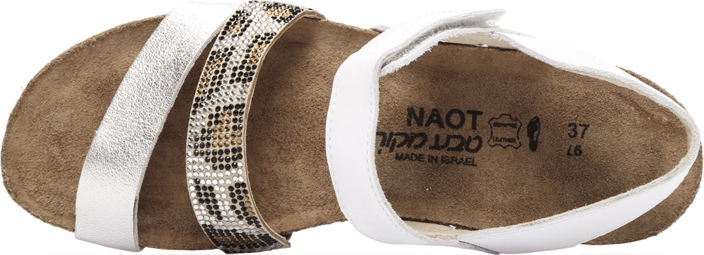 Women's Naot Krista Strappy Wedge Sandal, White Pearl/Silver/Cheetah Leather/Rivets, large, image 5