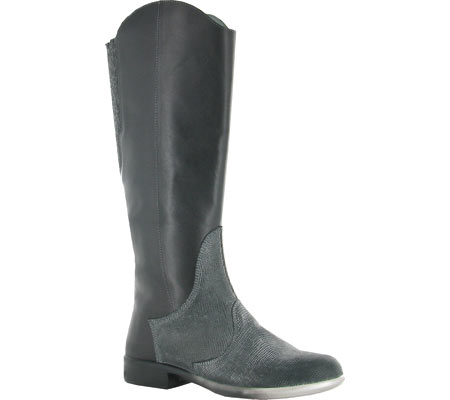 Women's Naot Shamal Western Inspired Boot, Black Raven Leather/Reptile Grey Leather, large, image 1
